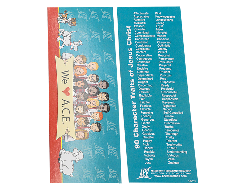 bookmark with the list of character traits