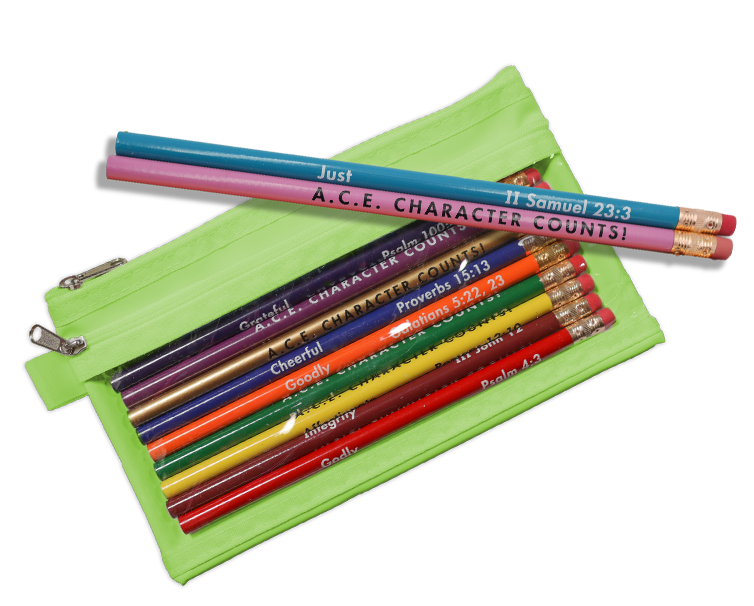 green pouch with pencils